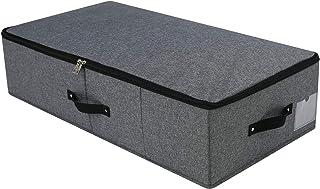Boîte de rangement pliable sous le lit avec poignées, couvercle à fermeture éclair, couvertures Vêtements Couettes Organis...