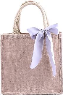 Bridesmaid Gift Bag Burlap Tote, Beach Travel Jute Satin Ribbon Wedding Welcome Bag for Favors Shopping Bag