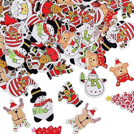 100pcs Noël Boutons Bois en 9 Formes Mixtes Assortis Colorés avec 2 Trous pour Deco Noël Mercerie Couture Arinasat Album et Scrapbooking