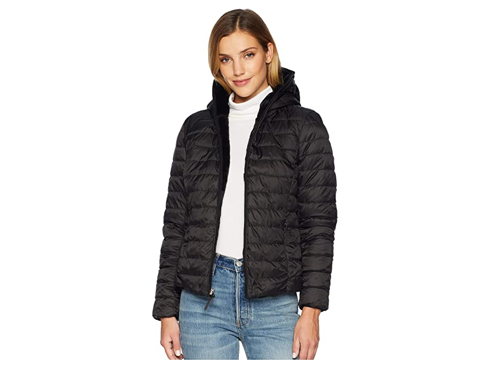 Marc New York by Andrew Marc Melrose Reversible To Fur Short Packable Puffer (Black/Black) Women