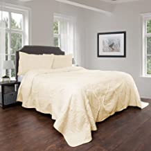 Quilt and Sham Set- Hypoallergenic 3 Piece Oversized King Quilt Bed Set with Curved Ruffle Design- Charlize Series by Bedford Home (Ivory)