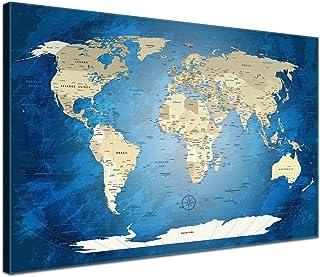 """comprar comparacion LanaKK - mapamundi con Corcho para Fijar los destinos - """"Mapa del Mundo OCÉANO Azul"""" - Español - Lámina sobre Bastidor Cam..."""