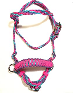 pony bitless bridle horse tack side pull hackamore pink lilac and turquoise