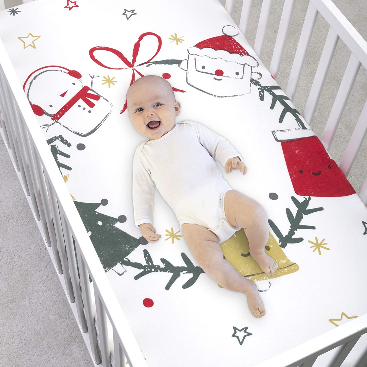 Trend Lab My Tiny Moments Jolly Wreath Flannel Photo Op Fitted Crib Sheet