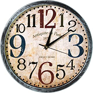 Story@home 12-inch Vintage Collection Round Shape Wall Clock with Glass for Home/Kitchen/Living Room/Bedroom (Beige and Tu...