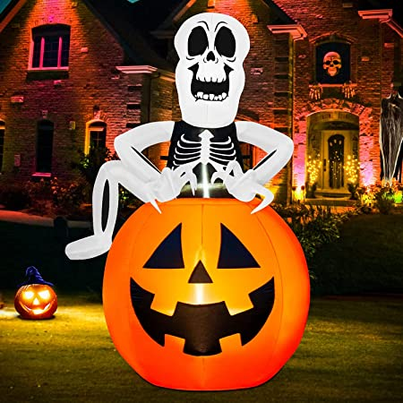 Rocinha Halloween Inflatable Skeleton with Pumpkin Decoration, 5.9 FT Inflatable Ghost with Single Leg, Blow Up Halloween Decorations for Outdoor Yard Garden Lawn (Built-in LED Lights)