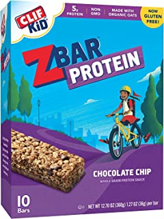 CLIF KID ZBAR - Protein Granola Bars - Chocolate Chip - (1.27 Ounce Gluten Free Bars, Kids Snacks, 10 Count)