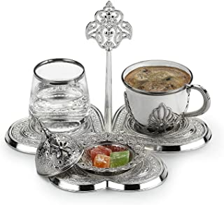 Turkish Coffee Cup Set for One Person with Water Glass and Candy Dish and Serving Tray (White Gold)