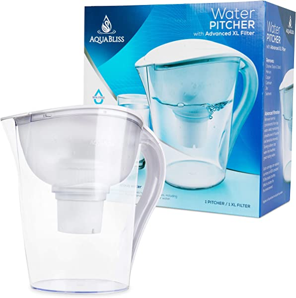 AquaBliss 10 Cup Water Filter Pitcher W Longest Lasting Advanced XL Water Purification Filter Filtered Water Pitcher Removes Harmful Contaminants Chlorine Metals Sediments For Clean Tasting Water