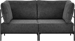 [en.casa] Sofá Modular Adaptable Negro - 2 plazas- Decorativo - con 2 armazones y Cojines tapizadaos - máximo Confort - imitación Ante