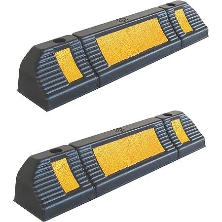 Sns Safety Ltd Rws 225 Gummi Radstopp Parkbegrenzung Für Gewerbliche Und Private Parkhäuser Parkplätze Und Privatgaragen Farbe Schwarz Gelb Abmessungen 60x12x10 Cm 2er Pack Auto