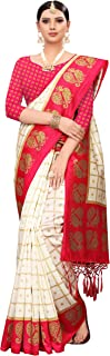 ANNI DESIGNER Silk Saree with Blouse Piece (Square Peacock Colors_Free Size)