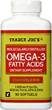 Trader Joe's Omega-3 Fatty Acids 1200mg Fish Oil, 90softgels, Odorless