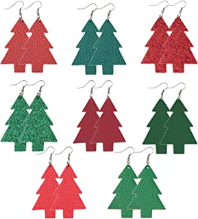 Vanjewnol 8 Pairs Christmas Tree Earrings Set Lightweight Faux Leather Earrings with Front and Back Patterned Statement Earrings Dangle Earrings for Women Girls