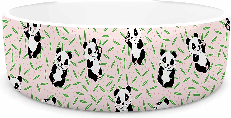 KESS InHouse Yenty Jap Little Cute Pandas  Black White Pet Bowl, 7