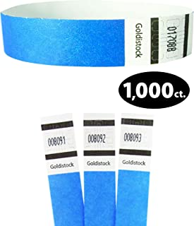 "Tyvek Wristbands - Goldistock Original Series Horizon Neon Blue 1,000 Count - ¾"" Arm Bands - Paper-Like Party Armbands - Heavier Tyvek Wrist Bands = Upgrading Your Event"