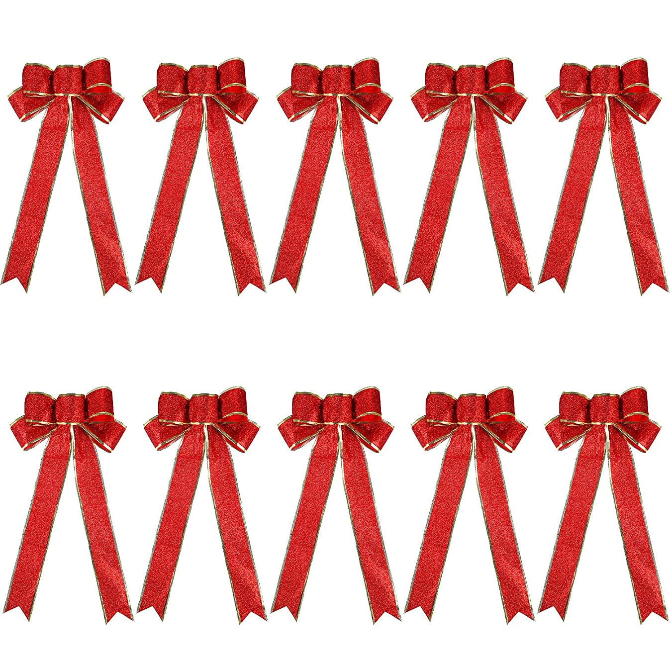 Tatuo 10 Pack Glitter Christmas Bow 7.8 x 17 Inch Holiday Bows Large Bow Home Decorations (Red Gold)