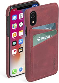 Krusell 61501 Sunne 2 Card Wallet Case for Apple - Premium Leather Case, Vintage Red