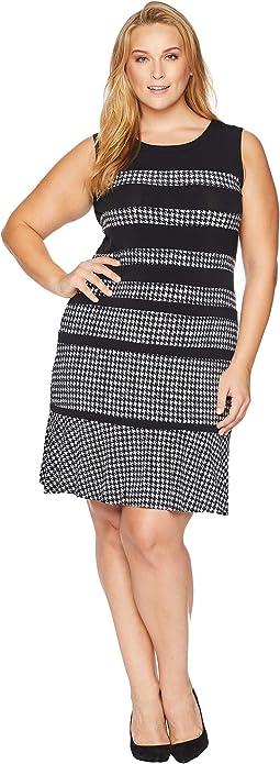 Plus Size Houndstooth Paneled Sleeveless Dress