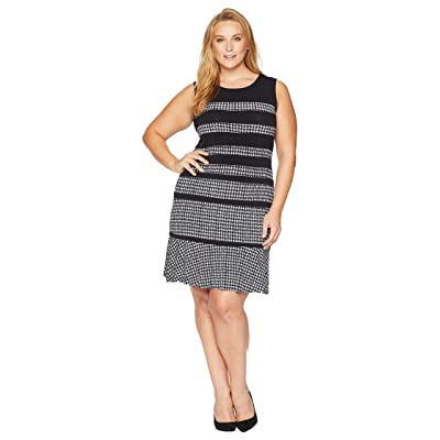 MICHAEL Michael Kors Plus Size Houndstooth Paneled Sleeveless Dress (Black/White) Women