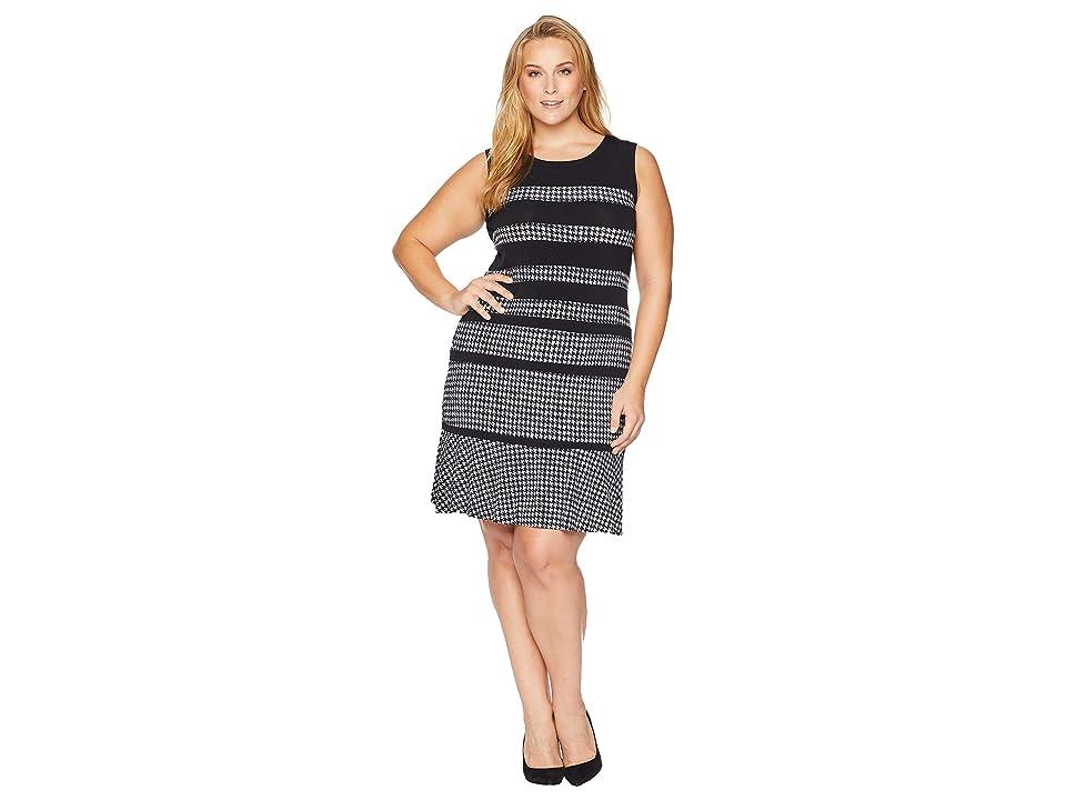 MICHAEL Michael Kors Plus Size Houndstooth Paneled Sleeveless Dress (Black/White) Women