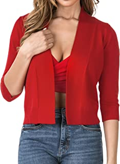 Nolabel Women's 3/4 Sleeve Cropped Open Front Draped Shawl Collar Bolero Cardigan Jacket (Plus Size)