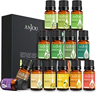 Essential Oils Set - Anjou 14 x10ml Aromatherapy Essential Oil Large Pure & Therapeutic Grade for Diffuser, Humidifier, Massage, Skin Hair Care Air Freshener Incl.Peppermint Eucalyptus Tea Tree