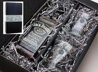 Geschenkkarton von meinglas24 mit Jack Daniels Whisky 40% 0,7l mit 2 Tumbler Gläser - ein tolles Geschenkset für Liebhaber!