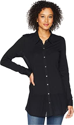 Slub Jersey Button Front Drop Waisted Tunic