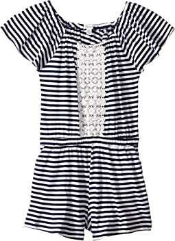 Yarn-Dyed Stripe Lace Romper (Big Kids)