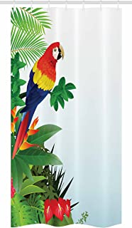 Ambesonne Parrots Stall Shower Curtain, Macaw Bird in Tropical Forest Flowers Big Leaves Plants Wildlife Vibrant Color Art, Fabric Bathroom Decor Set with Hooks, 36 W x 72 L inches, Multicolor