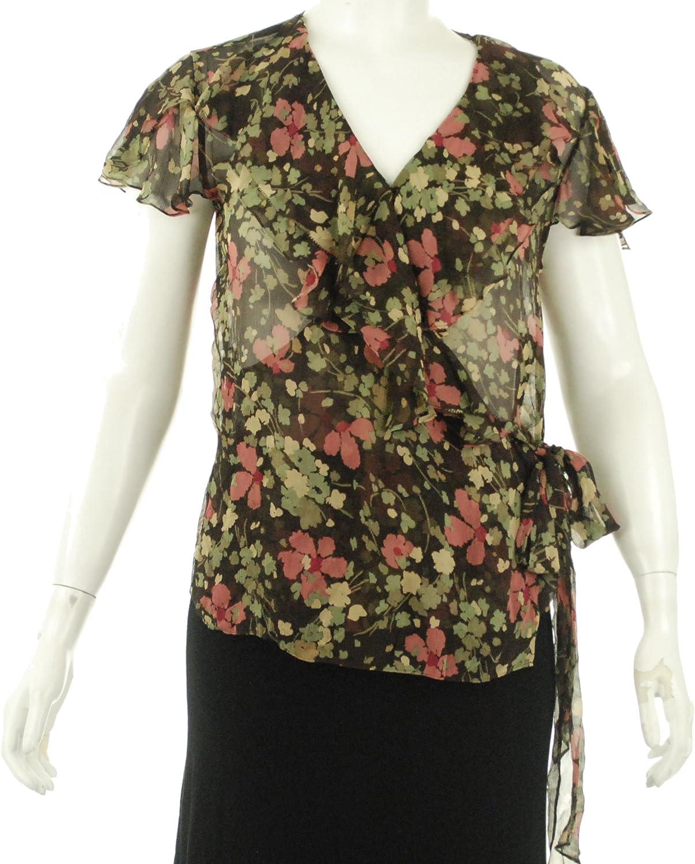 Lauren Ralph Lauren Silk Wrap Blouse Floral Brown (10)