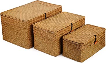 DOKOT Rectangular Handwoven Seagrass Storage Basket with Lid and Home Organizer Bins, Set of 3 (Set of 3 (S+M+L)(Super Lar...