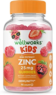 WellWorks Zinc Gummies for Kids – 25mg – Great Tasting Natural Flavor Gummy Supplement Vitamins – Gluten Free Vegetarian G...