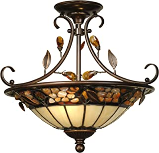 Dale Tiffany TH90218 Tiffany/Mica Two Light Hanging Fixture from Crystal Jewel Pebble Stone Collection in Gold, Champ, Gld Leaf Finish, 17.00 inches, Antique Golden Bronze