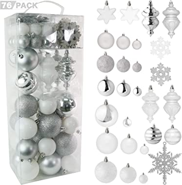 RN'D Christmas Snowflake Ball Ornaments - Christmas Hanging Snowflake and Ball Ornament Assortment Set with Hooks - 76 Orname