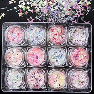 12 stuks glittermake-up set | Chunky glitter, nagels glitter sequin make-up glitter set cosmetica voor haar kunst decorati...