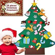 iShyan Kids Felt Christmas Tree DIY Wall Hanging Felt Christmas Decorations with 26pcs Detachable Christmas Ornaments, 3.1ft