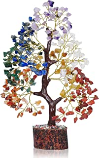 PREK 7 Seven Chakra Crystal Gemstone Bonsai Money Tree with Golden Wire and 300 Beads Natural Healing for Good Luck, Wealt...