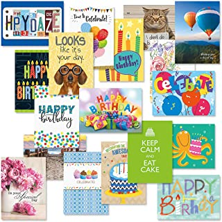$20 » Mega Happy Birthday Greeting Card Value Pack – Set of 36 (18 Designs), Large 5 x 7 inches, Envelopes Included, by Current