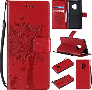 HAOTP Galaxy S9 Wallet Case, Floral Flower Love Tree & Cat Embossed PU Leather Magnetic Flip Shockproof TPU Inner Bumper Card Holders & Hand Strap Wallet Purse Case for Samsung Galaxy S9 Red