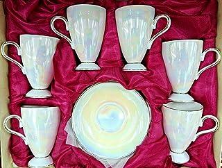 トルコアラビアコーヒーセット マザーオブパールカラー - 6カップ& 6ソーサー - فناجين حوة ركي حربي