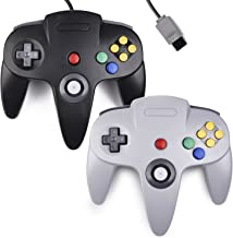 2xClassic N64 Controller,kiwitata Retro Wired N64 Gamepad Controller Joystick for N64 Video Console Games System Black+Gray