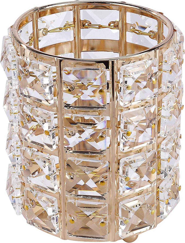 Organizador De Maquillaje, Portacepillos de Dientes de Cristal, Porta Cepillos para Utensilios de Baño, Cosmético Almacenamiento Organizador (Oro)