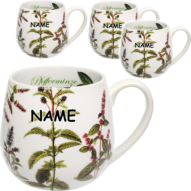 Porzellan // Keramik Kaffeetasse incl Mikrowellengeeignet.. gro/ß alles-meine.de GmbH 1 St/ück /_ Henkeltasse // Teetasse 420 ml Pfefferminze Name Trinktasse mit Henkel