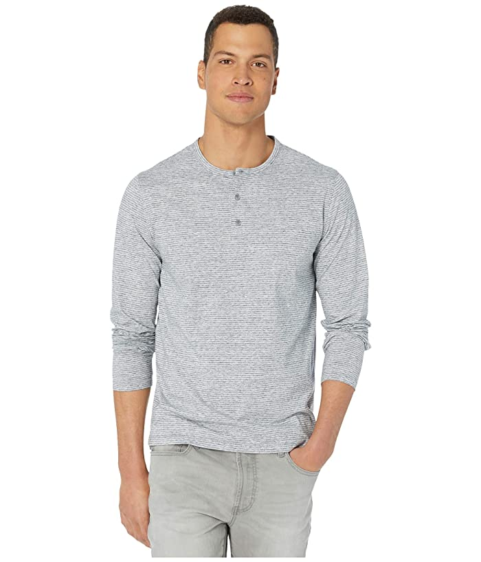 Vince  Long Sleeve Stripe Henley (Heathered Arctic/Leche) Mens Clothing