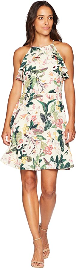 Printed Crepon Fit & Flare Dress