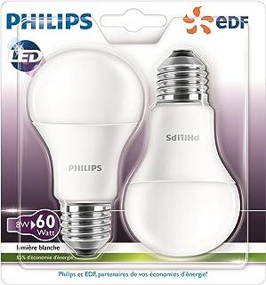 Philips Pack de 2bombillas LED (E27, rosca (tamaño grande) Base- 8W-consumption 60W equivalent-partnership Philips Fed