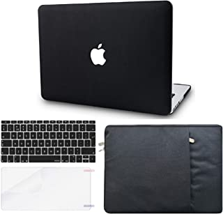 """KECC Laptop Case for MacBook Pro 13"""" (2020/2019/2018/2017/2016, Touch Bar) w/Keyboard Cover + Sleeve + Screen Protector (4 in 1 Bundle) Italian Leather A2159/A1989/A1706/A1708 (Black Leather)"""
