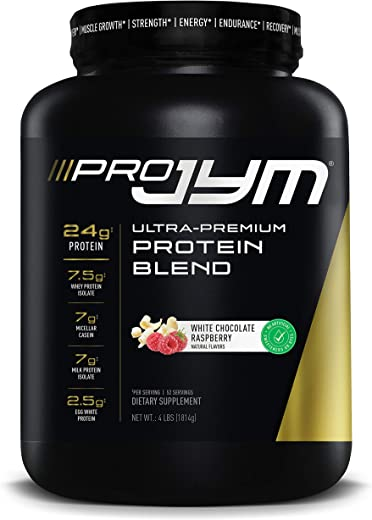 Pro Jym Protein Powder - Egg White, Milk, Whey protein isolates & Micellar Casein | JYM Supplement Science | Natural White Chocolate Raspberry, 4 Pound